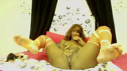 Black amateur babe Nikki with tattooed body and hot lingerie plays