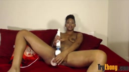 Hot ebony squirter Lyana masturbates creamy black pussy