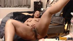 Ebony horny Adrienne with 36DD perky boobs fucks big booty