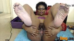 Ebony mommy mistress Jezanna with a hairy meaty vagina