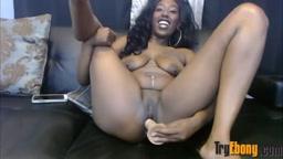 Black sassy lovable woman with creamy pussy masturbates