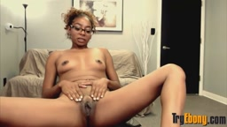 Sweet black Malanie Rene with petite body and sexy glasses
