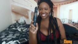Ebony bombshell with massive hooters and huge ass