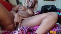 Sexy as fuck teen ebony doll with big ass fucks tight pussy